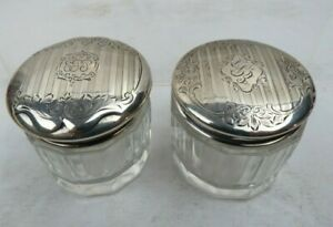2 Antique Art Deco Crystal Sterling Silver Lids Dresser Vanity Jars Boxes