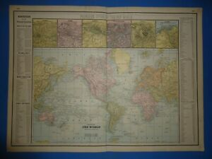 Vintage 1886 Map Of The World Principal Cities Old Antique Original Atlas Map