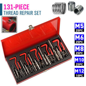 131 Piece Helicoil Type Thread Repair Kit M5 6 8 10 12 Twist Drill Bits Engine