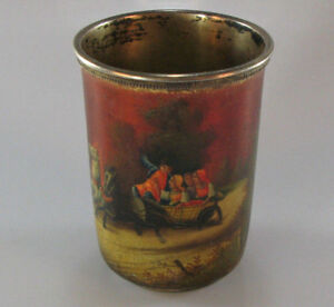 Antique Russian Silver Lacquer Hand Painted Cup Moscow 1908 1917