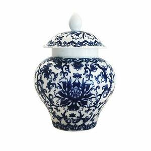 Temple Jar Ancient Chinese Style Blue And White Porcelain Helmet Shaped Design