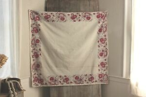 Antique French Fichu Neckerchief Toile De Jouy Shawl 1700 S Pink Block Printed