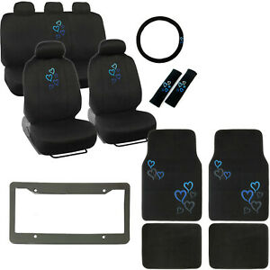 New Blue Hearts Logo Black Car Seat Covers Floor Mats Steering Wheel Cover Set