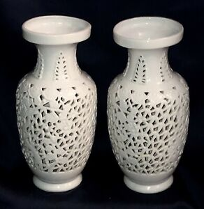 Free Shipping Pair Antique Chinese Porcelain Vase Lamp Reticulated Blanc De Chin