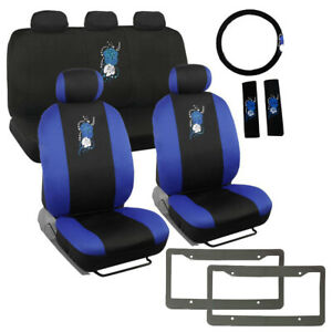 14pc New Blue Hawaiian Flowers Car Front Back Seat Covers Steering Wheel Cover