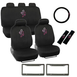 14pc Pink Hearts Logo Black Car Front Back Seat Covers Steering Wheel Cover Set