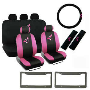 14pc Pink High Heels Logo Black Car Front Back Seat Covers Steering Wheel Cover