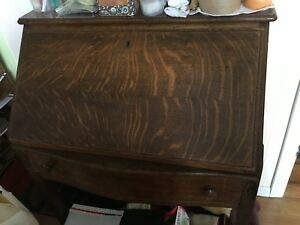 Antique Tiger Oak Secretary Desk With Key Desk Can Be Locked Very Rare Unique