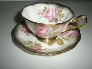 Vintage Royal Albert Bone China Rose Tea Cup And Saucer Set With Gold Trim