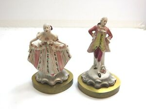 Lovely Antique German Lace Porcelain Victorian Couple Man And Women On Stands