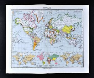 1911 Stieler Map World Political Countries Telegraph Cables