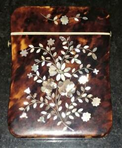 Fine Regency Faux Tortoiseshell Card Case Inlaid With Mother Of Pearl Flowers