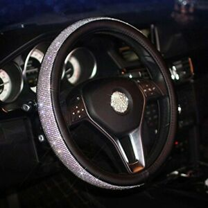 Carfond Pu Leather Crystal Steering Wheel Cover With Bling Bling Rhinestones 15