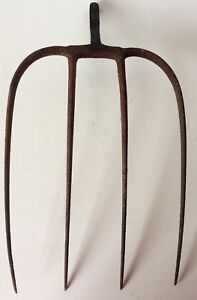 Vintage 4 Tine Hay Pitchfork Farm Primitive Iron Weathered Country Tool Fork 12