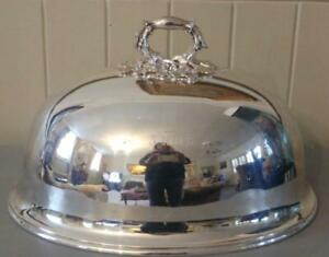 Superb Elkington Co Antique Silver Plated Meat Dome With Ornate Handle C 1863