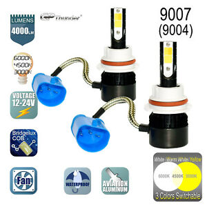 2x 9007 9004 Hb5 3 color Switchable Headlight Hi lo Led Bulbs White Yellow