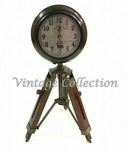 Vintage Antique Wooden Clock With Tripod Stand Nautical Home Decor Collectable