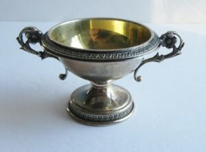 Vintage Sterling Silver Master Salt Miniature Urn Gold Wash
