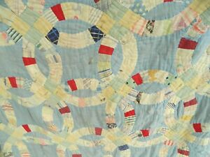 Antique Late 1800 S Early 1900 S Blue Wedding Ring Pattern Patchwork Quilt