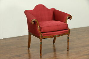 George I Style Chair Hand Painted New Upholstery Down Cushion 30551