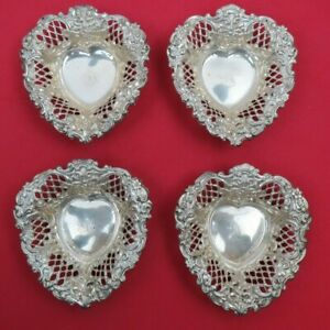4 Fine Sterling Silver Reticulated Ornate Heart Nut Dishes Chester England 1895