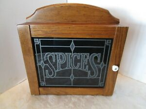 Vintage Cornwall Oak Wood Kitchen Spice Cabinet Glass Door Wall Table Top 16 T