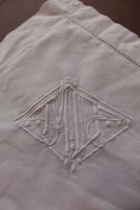 Vintage French Linen Metis Square Oxford Pillowcase Monogram M D