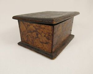 Antique Playing Cards Ace Of Hearts Pyrography Flemish Style Folk Art Wood Box