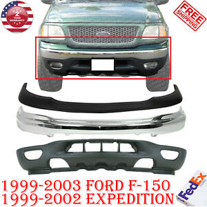 Front Bumper Pad Face Bar Chrome Valance For 1999 2003 Ford F150 F250 3pc