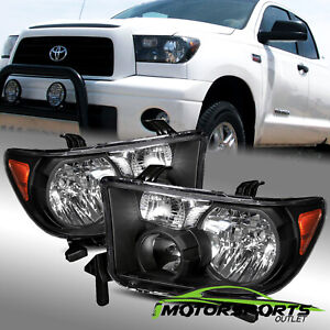 For 2007 2013 Toyota Tundra 08 15 Toyota Sequoia Factory Style Black Headlights