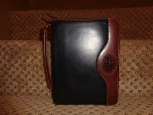 Vintage Franklin Quest Covey Black Brown Leather Compact Planner Wrist Strap