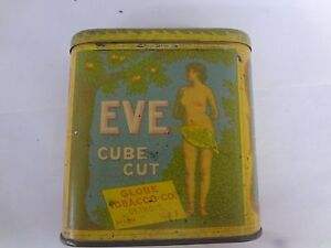VINTAGE EVE TOBACCO VERTICAL POCKET TIN ADVERTISING EXC COND 669-