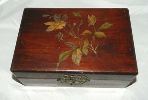 Antique Victorian Mahogany Floral Etched Blue Satin Lined Jewelry Trinket Box