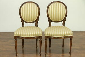 French Louis Xvi Antique Pair Carved Fruitwood Side Chairs 30653