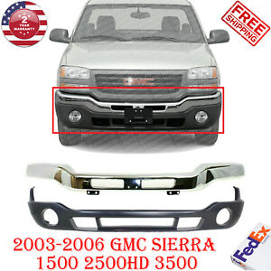 Front Bumper Chrome Steel Valance For 2003 2006 Gmc Sierra 1500 2500 3500