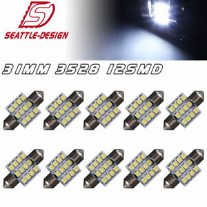 10x Cool White 31mm 12smd Festoon Led Dome Map Interior Light Bulbs De3021 3022