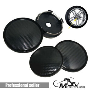 Wheel Rim Center Cap 4 Pcs Car Vehicle Hub Badge Black Carbon Fiber Look 60mm