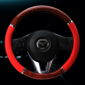 Universal Leather Steering Wheel Cover Suv Car Truck Red Wood 15 Inches 38cm