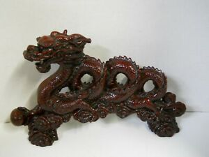Asian Chinese Red Dragon Statue Sculpture Figure Good Luck Fortune Strength Art