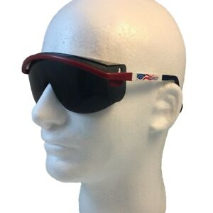 Uvex Astro 3000 Safety Glasses Red White And Blue Frame With Smoke Lens
