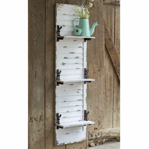 Country New Large Distressed Wood Window Shutter Wall Shelf