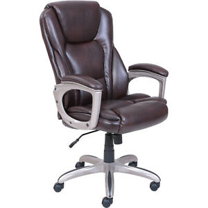 New Swivel Black Or Brown Executive Leather Office Chair Memory Foam Cushion