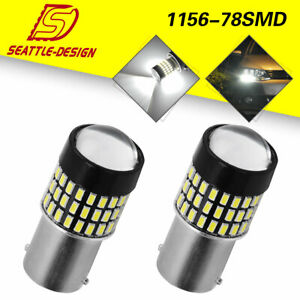 2x White 1156 78smd Rv Camper Trailer Backup Reverse Led Lights Bulbs 1141