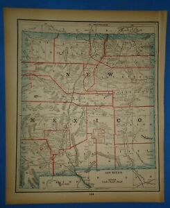 Vintage 1893 New Mexico Territory Map Old Antique Original Atlas Map 22319