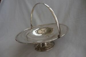 A Vintage English Silver Plated Epns Large Pedestal Cake Stand Basket Swing Hand