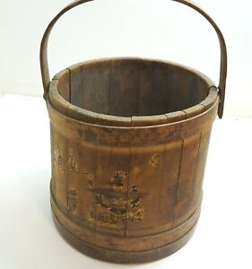 Antique Wood And Wooden Strap Firkin Bucket Partial Paperl Label Wood Handle