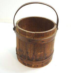 Antique Wood And Wooden Strap Firkin Paint Sugar Bucket And Wood Handle N3