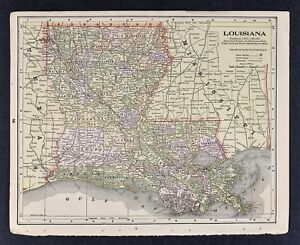 1905 Crowell Map Louisiana New Orleans Alexandria Lafayette Lake Pontchartrain