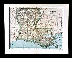 1903 Dodd Mead Map Louisiana New Orleans Baton Rouge Shreveport Alexandria