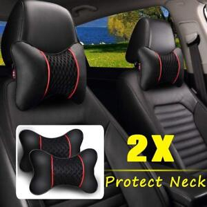 2pc Pu Leather Car Auto Car Rest Cushion Seat Head Neck Headrest Rest Pillows
